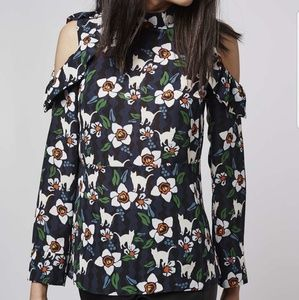 TopShop Floral Shoulder Blouse